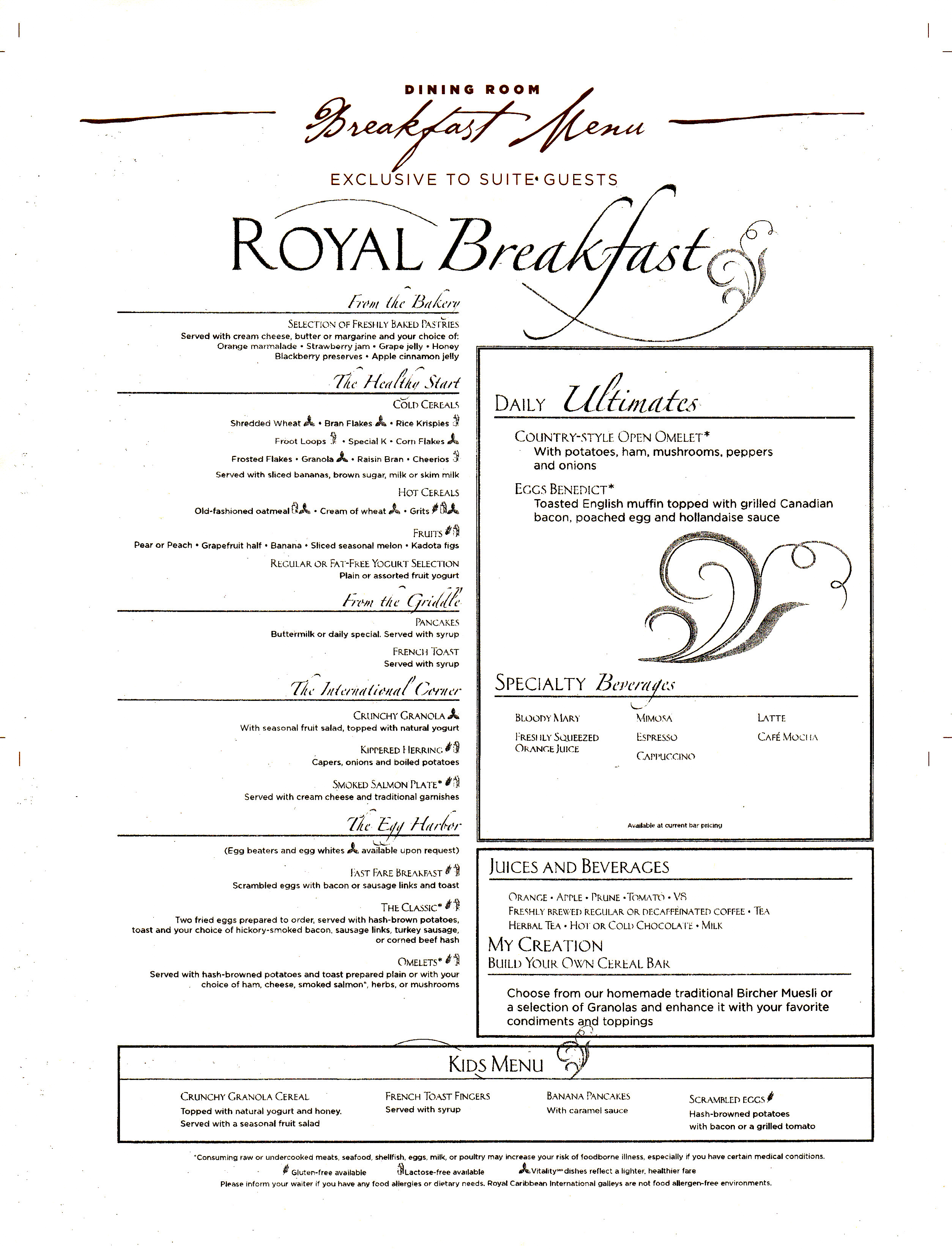 Royal Caribbean Main Dining Room Menu